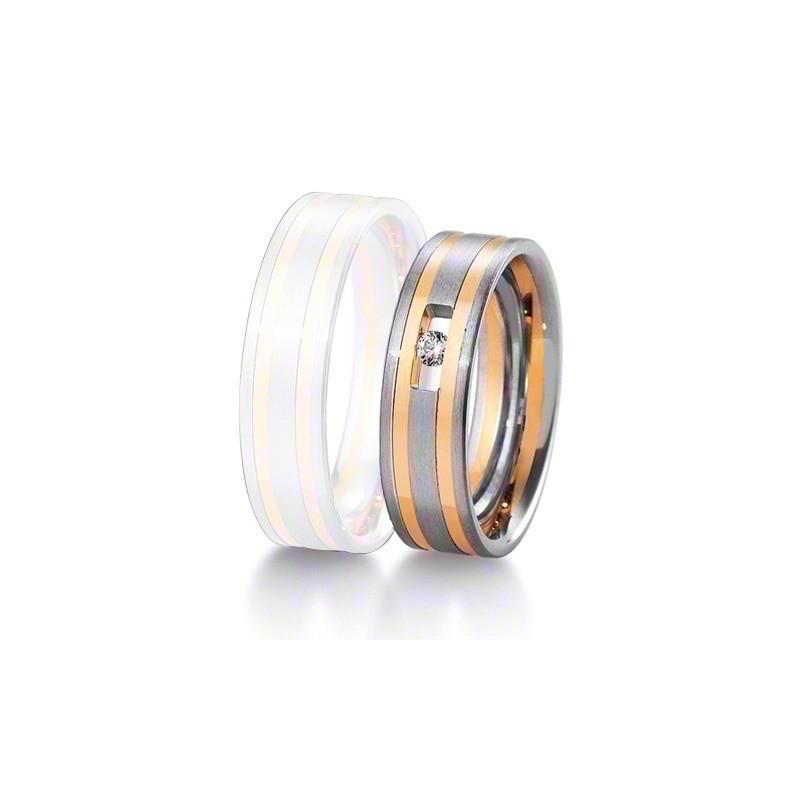 Alliance BREUNING INSPIRATION 6 mm - OR Blanc & Jaune - 1 Diamant
