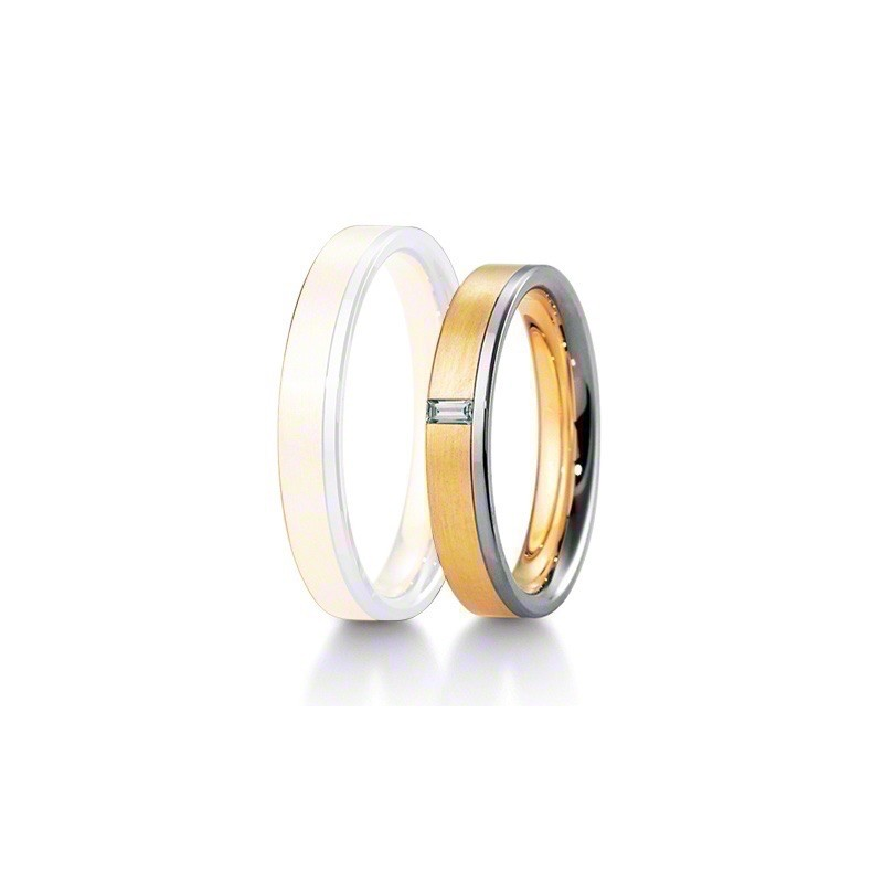 Alliance BREUNING INSPIRATION 4 mm - OR Blanc & Jaune - 1 Diamant
