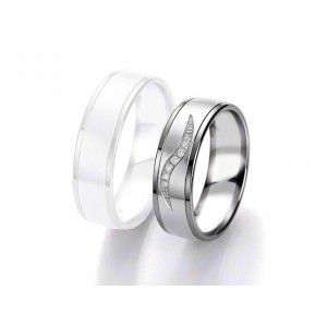 Alliance BREUNING BLACK & WHITE 6,5mm - OR Blanc & NOIR - 7 diamants
