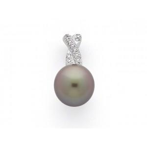 Pendentif Perle de culture de Tahiti 11,2 mm et Diamants 0,07 Carat G SI