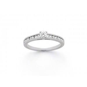 Solitaire Diamant 0,10 Carat G SI 4 griffes accompagné 0,12 Carat Or blanc