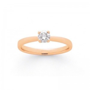 Solitaire Diamant 0,20 Carat G SI 4 griffes Or rose