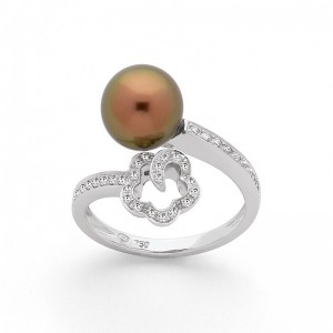 Bague Perle de Tahiti 8,3mm et Diamants 0,33 Carat H SI Or blanc-1