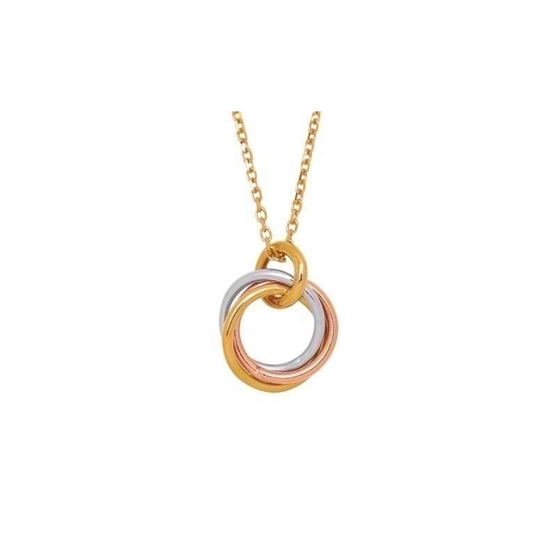 Pendentif tout Or 3 anneaux Or jaune Or blanc et Or rose maille Forçat limé