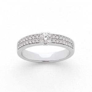 Solitaire Diamant 0,19 Carat G SI2 4 griffes accompagné 0,24 Carat duo Or blanc