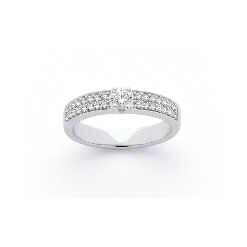 Solitaire Diamant 0.40 Carat E SI1 4 griffes accompagné 0,37 Carat Or blanc