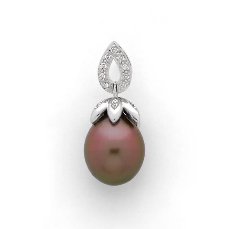 Pendentif Perle de culture de Tahiti 10,9mm et Diamants 0,10 Carat H SI Or blanc