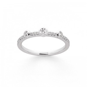 Bague Diamants 0,15 Carat H SI serti clos pavage Diamants 0,10 Carat Or blanc