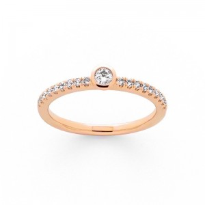 Solitaire Diamant 0,25 Carat H SI serti clos corps pavage Or rose