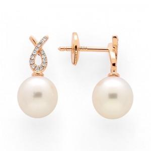 Boucles d'oreilles Perles de culture Akoya Japon ronde 7,5-8 mm Or rose
