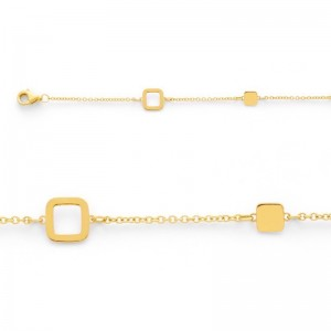 Bracelet maille Petits carrés 4 et 6mm Or jaune