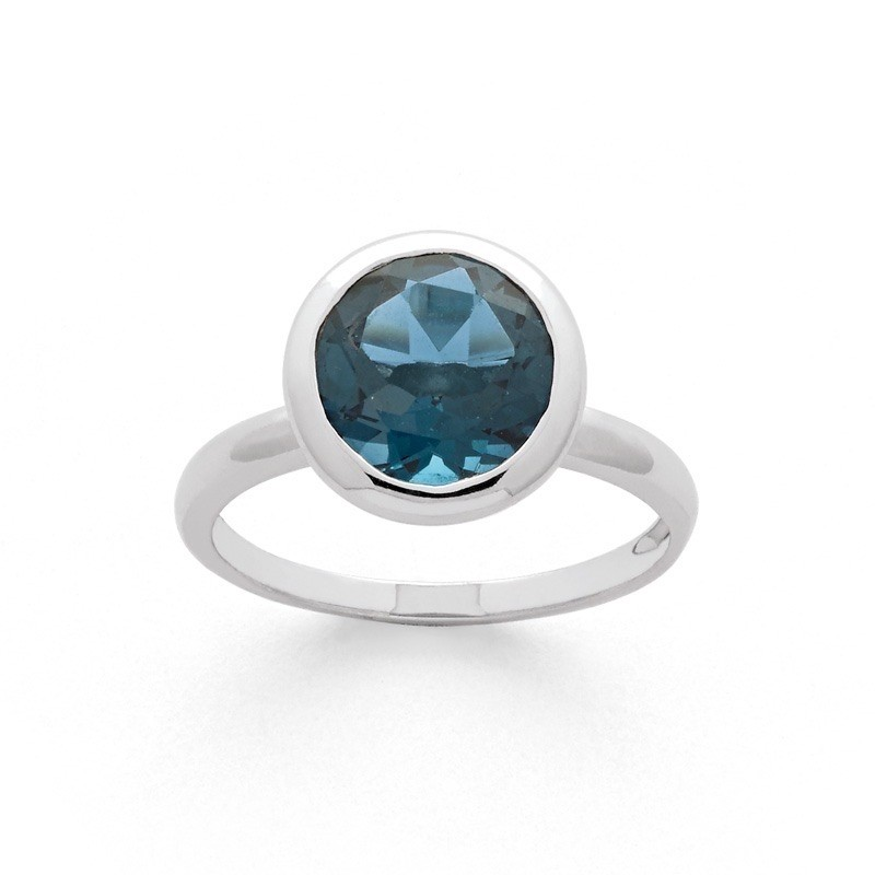 Bague Topaze Bleue London taille ronde Or blanc