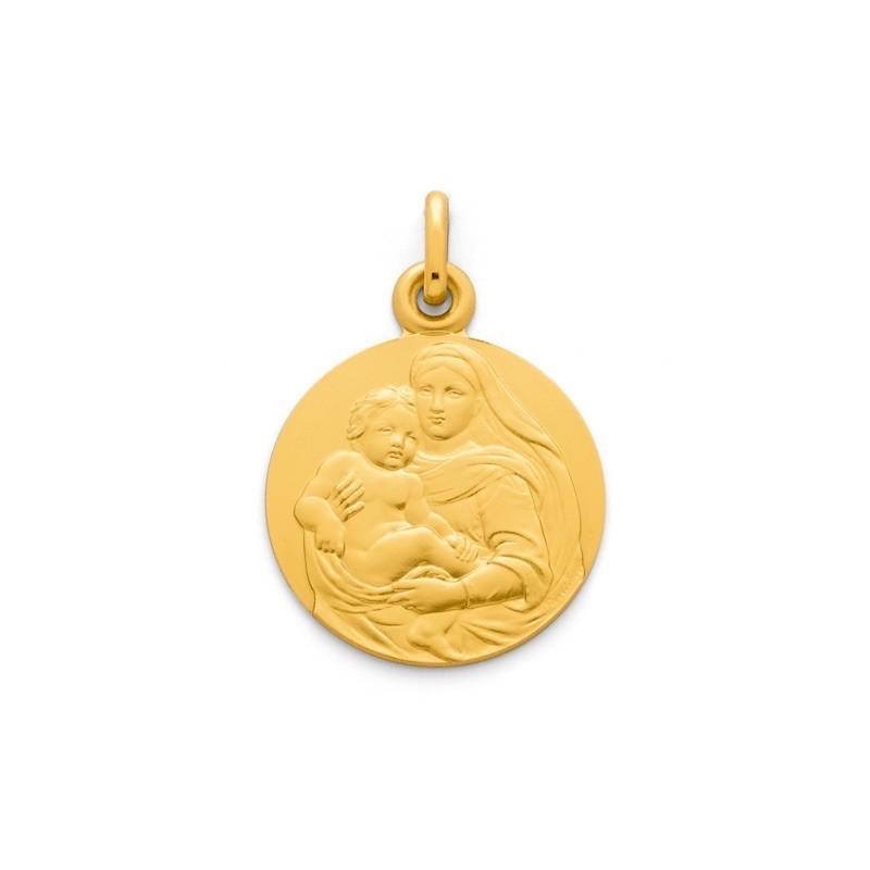 Médaille Vierge ronde à l'Enfant Révillon 18mm Or jaune