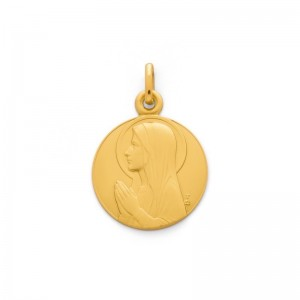 Médaille Vierge Ave Maria 18mm Or jaune