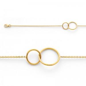 Bracelet avec motif 2 Cercles 10mm et 14mm Or jaune