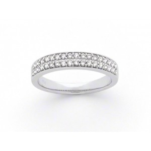 Alliance Diamants 1/2 tour Or 0,38 carat G SI pavage 2 rangs Diamants