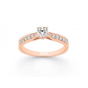 Solitaire Diamant 0,20 Carat H SI 4 griffes accompagné 0,19 Carat Or rose