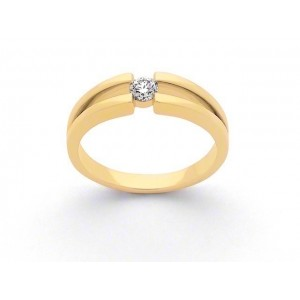 Solitaire Diamant 0,14 Carat G SI corps double Or jaune