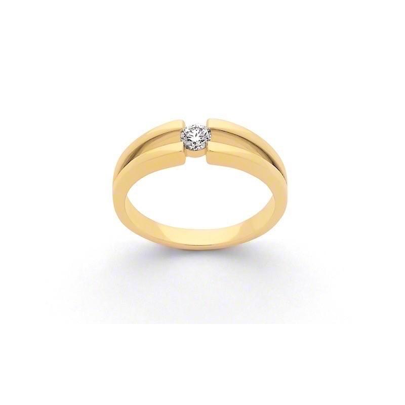 Solitaire Diamant 0,14 Carat G SI corps double Or jaune
