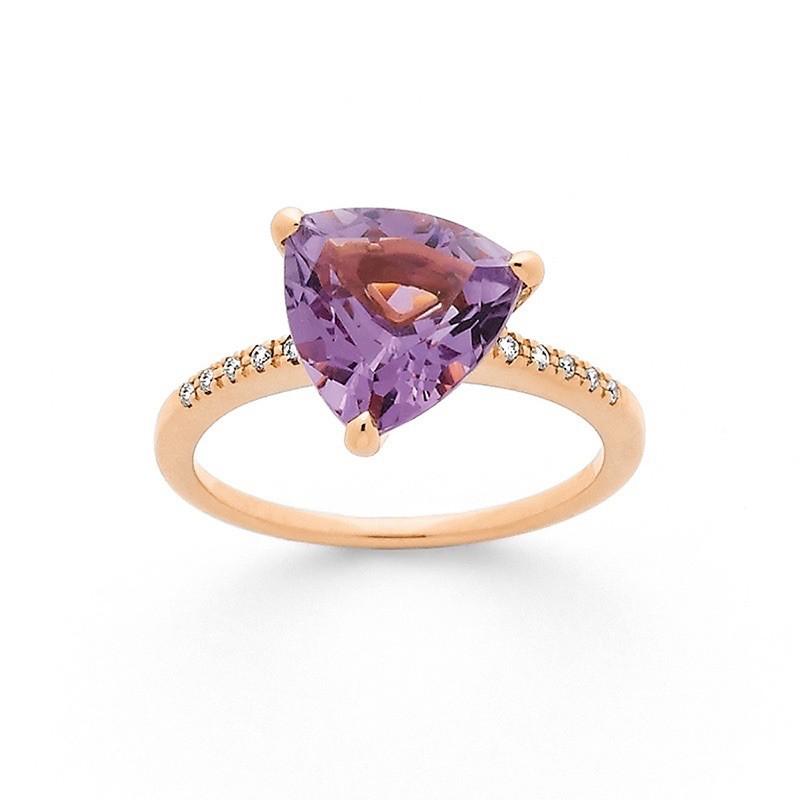 Bague Améthyste 2,55 Carats et Diamants 0,07 Carat H SI Or rose