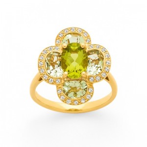 Bague Péridot, Prasiolites 2,94 Carats Diamants 0,16 Carat Or jaune
