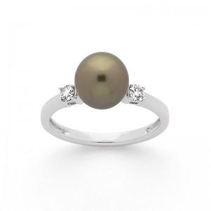 Bague Perle de Tahiti 9 mm et Diamants 0,14 Carat H SI Or blanc-2