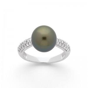 Bague Perle de Tahiti 10mm et Diamants 0,30 Carat H SI Or blanc
