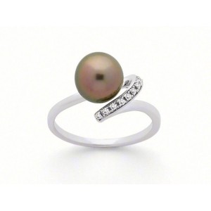 Bague Perle de Tahiti 8,5mm et Diamants 0,06 Carat H SI Or blanc