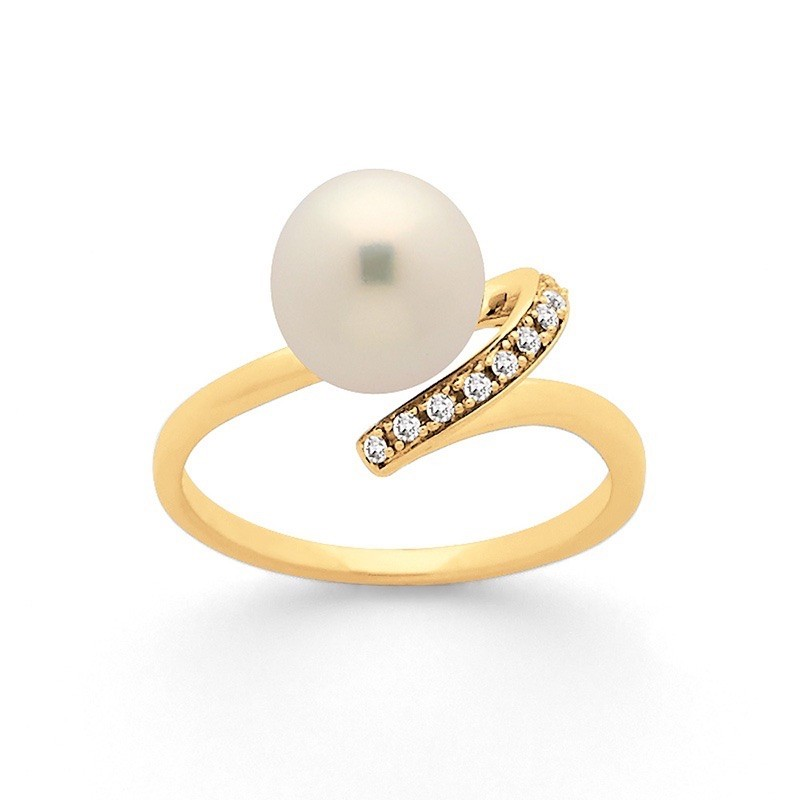 Bague Perle Akoya Japon 8,5-9mm et Diamants 0,06 Carat H SI Or jaune