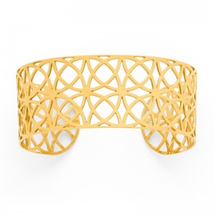 Bracelet rigide Manchette dentelle 25mm Or jaune