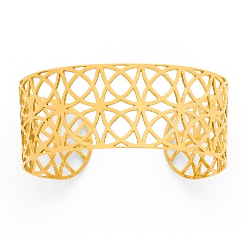 Bracelet rigide Manchette dentelle 25mm Or jaune