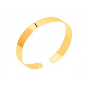 Bracelet Jonc plat rigide uni ouvert 10 mm Or jaune