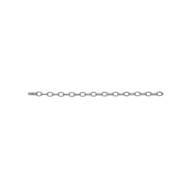Bracelet maille Forçat fil plat 7mm Or blanc