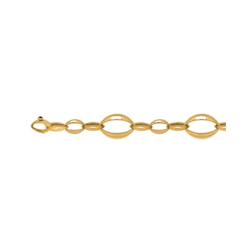 Bracelet mailles ovales alternées 16mm Or jaune