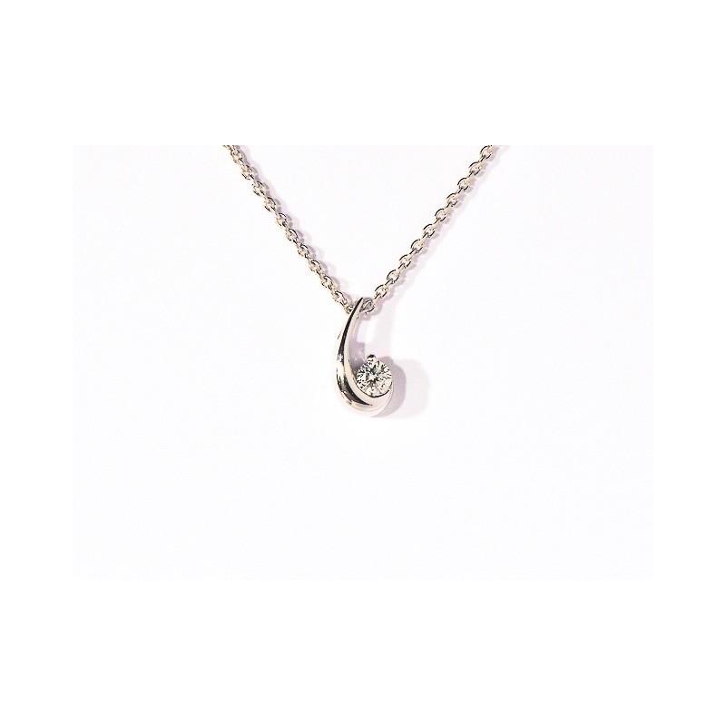 Pendentif Diamant 0,08 Carat G SI Croissant de lune Or blanc