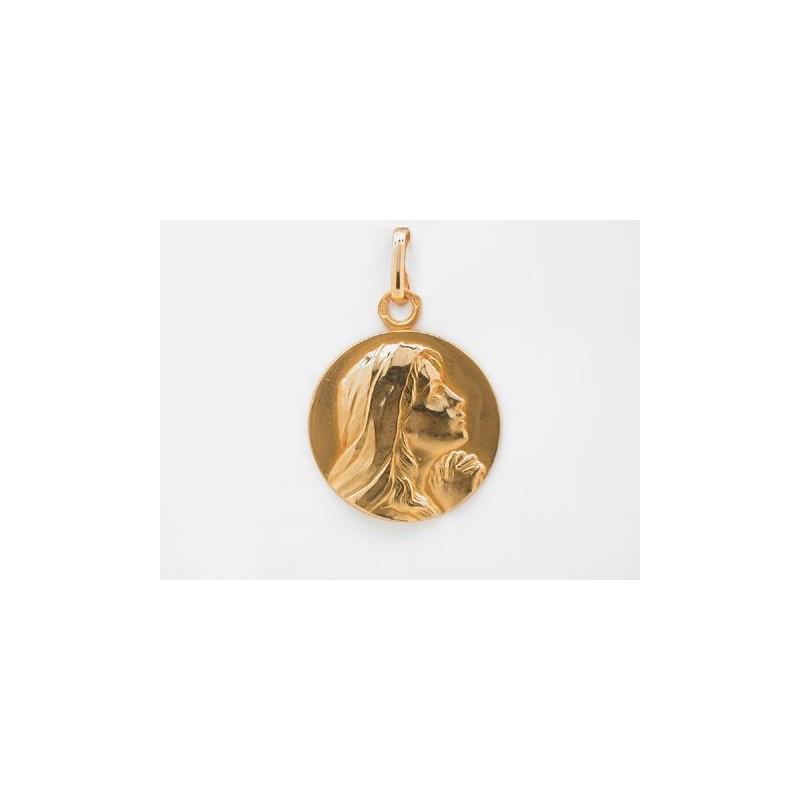 Médaille Vierge en prière 18mm Or jaune