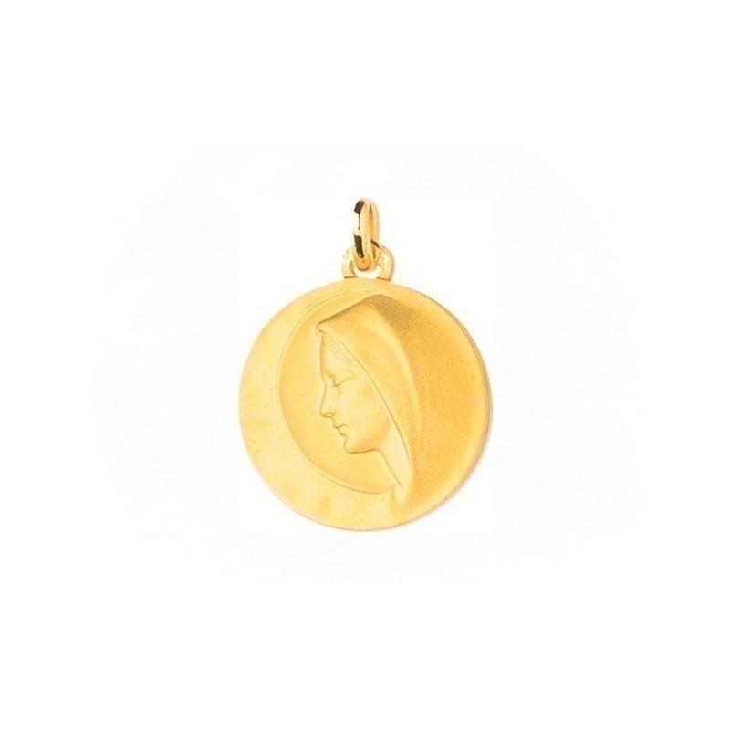 Médaille Vierge au voile ronde 19mm Or jaune