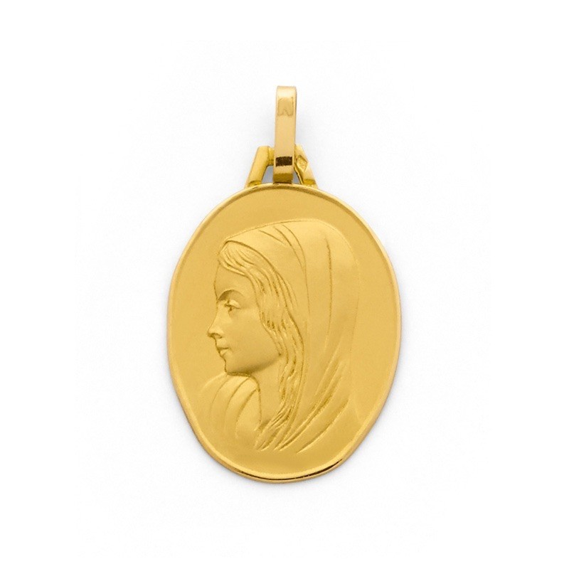 Médaille Vierge ovale 20mm Or jaune