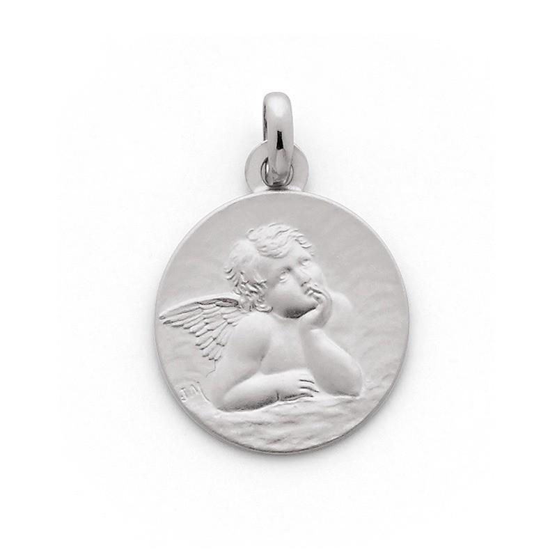 Médaille ange de Raphaël 16mm Or blanc