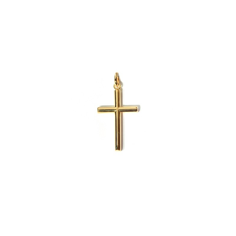 Croix chrétienne unie fil rond 25mm creuse tube rond Or jaune