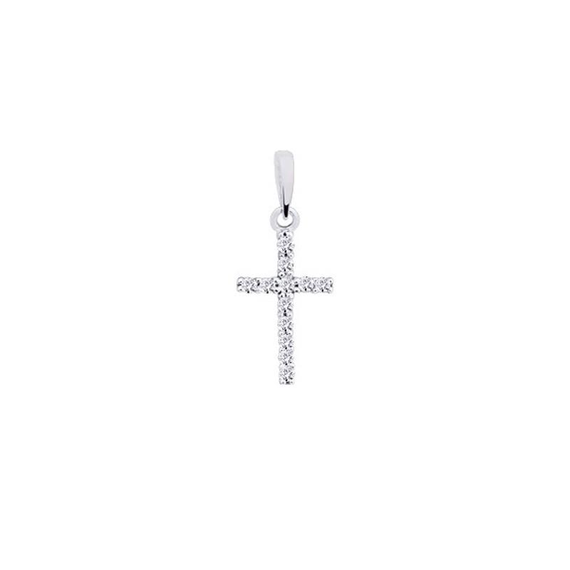 Croix avec Diamants 0.10 Carat G SI 14,7mm Or blanc