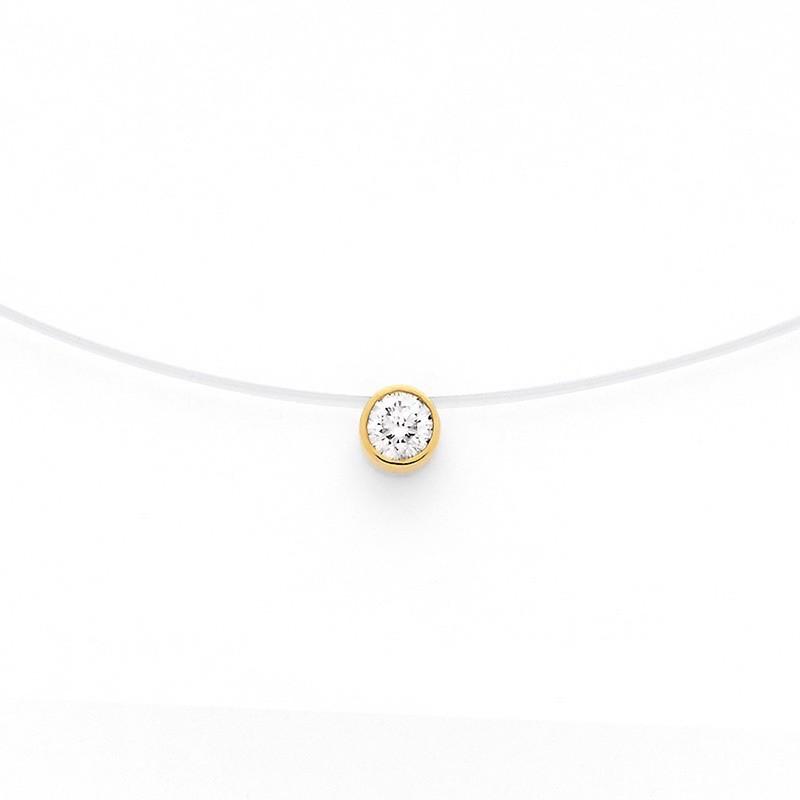 Pendentif Diamant 0,15 carat G SI serti clos Fil nylon Or jaune