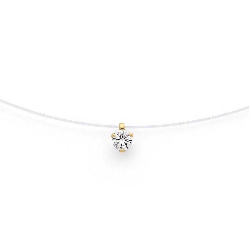 Pendentif Diamant 0,16 carat G SI 3 griffes Fil nylon Or jaune