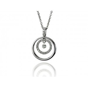 "Pendentif Diamants 0,21 Carat H SI ""Double Bulles en Diamants"" Or blanc"