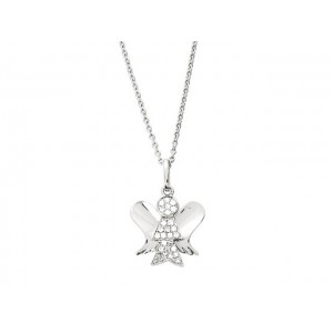 Pendentif Diamants 0,11 Carat Ange Or blanc