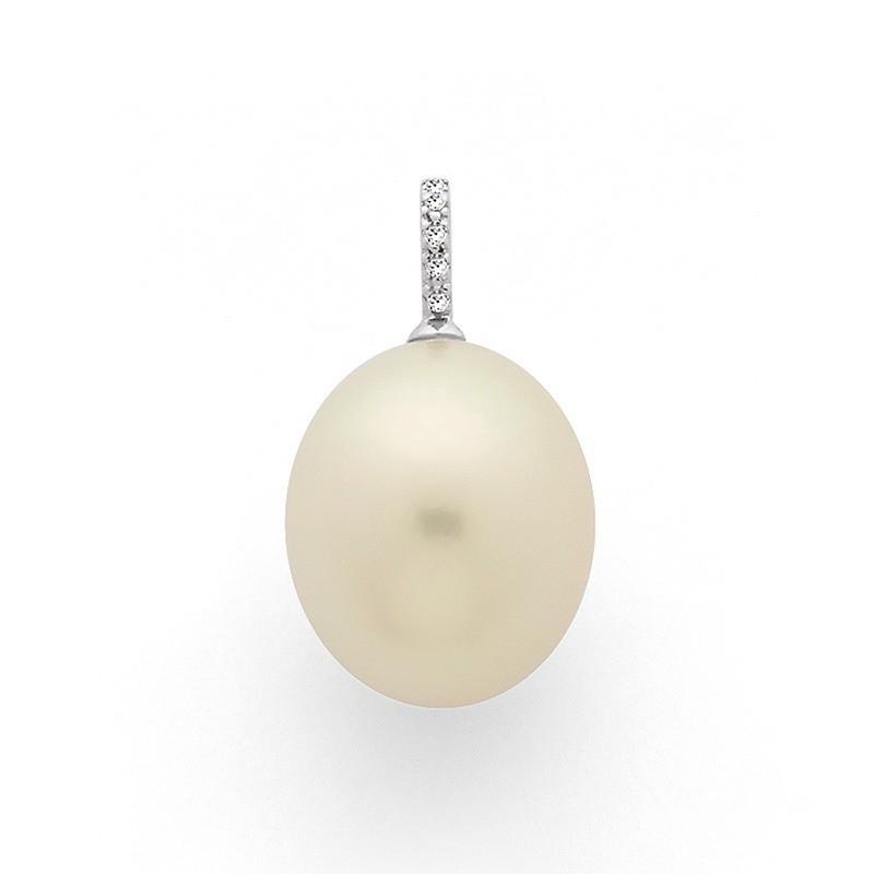 Pendentif Perle de culture d'Australie 13,8mm Diamant Or blanc