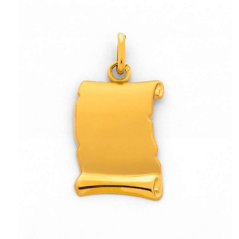 Pendentif Carte Parchemin Or jaune