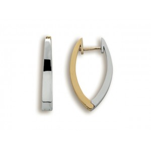 Boucles d'oreilles fil carre pointues révervibles bicolore Or blanc et Or jaune