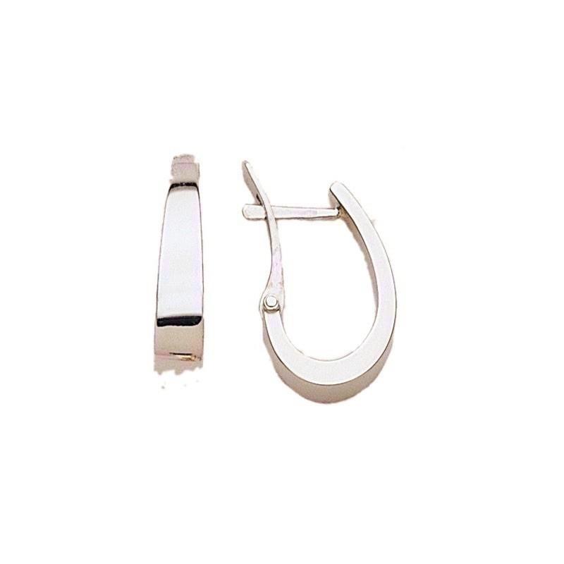Créoles fil carré plat 18x4,4mm systèmes clips Or blanc