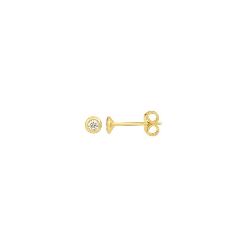 Boutons d'oreilles Diamants 0,16 Carat G SI serti clos Or jaune